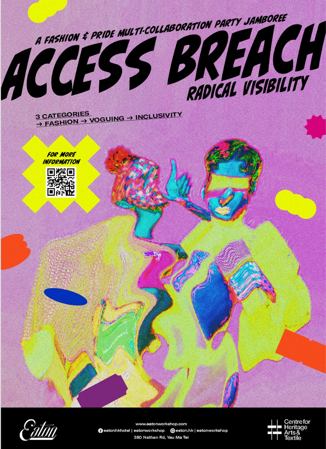 Access Breach: Radical Visibility Fashion show poster by Eaton HK. This poster depicts a distorted image of two people colored in different neon colors, with funky 80's shapes encircling them.